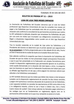 Comunicado de AFE manifestando que LDU Loja adeuda 3 meses de sueldo a jugadores. Pidió intervención de Ministerio de Trabajo.
